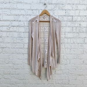 Mossimo cream waterfall sweater with lace back S.